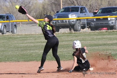Safe at Second is Sydnie Romero as she steals her home Monday afternoon. Romero eventually steals home on a bad pitch and fast legs.
