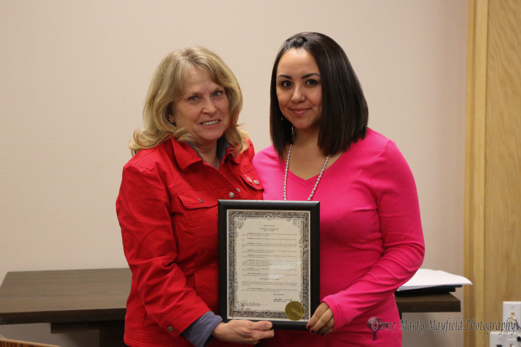 Tricia Mascarenas was presented the proclamation for Municipal Clerk's week by commissioner Lindé Schuster