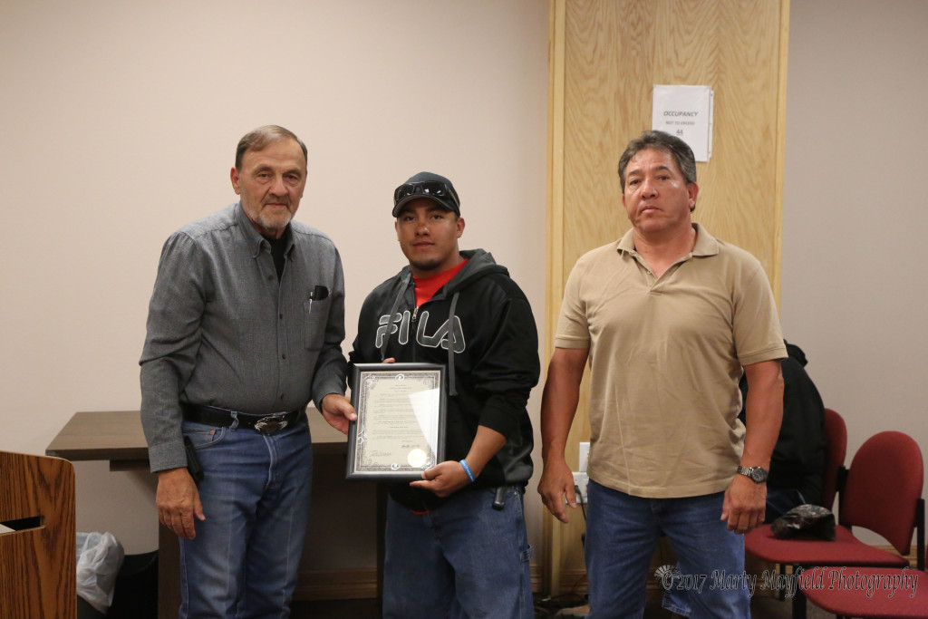 Larry Marquez and David Gallegos received the proclamation for Public Works week from Commissioner Don Giacomo