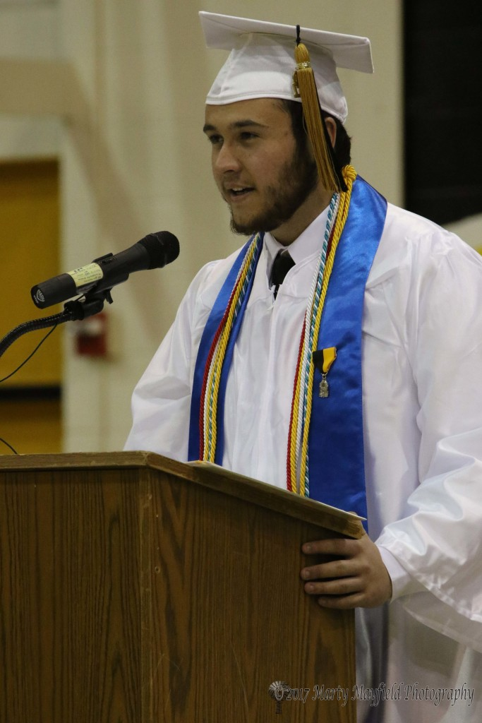 Jacob Hathaway gave the welcome address at the RHS Graduation Friday evening.