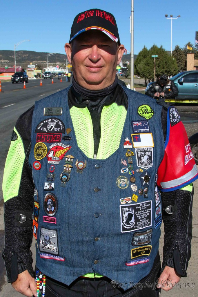 Edwin Musto displays his vest with pins and patches for this year's Run for the Wall. this is his second year to participate in the Run, quite an achievement since he is from New Zealand