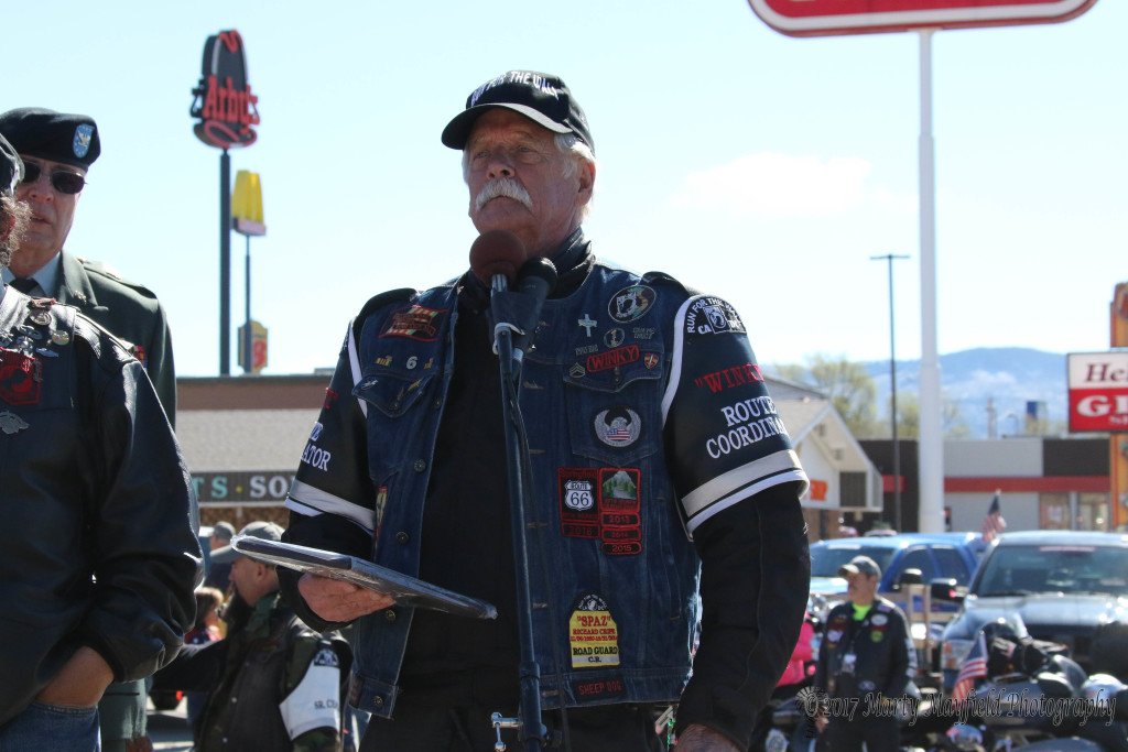 Winky as he is known to the riders presented plaques of appreciation to Tim Trujillo, Colfax County Sheriff and the Young Marines for their efforts in welcoming Run for the Wall riders to Raton