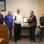 Mike Colangelo, Mark Riddeford, Frank Cimino and Gus Mascarenas accepted the proclamation for the St Jude's Bikeathon. After 26 years the Knights of Columbus will be doing the bikeathon for the last time. Cimino hopes another group will pickup the bikeathon and ride with it.
