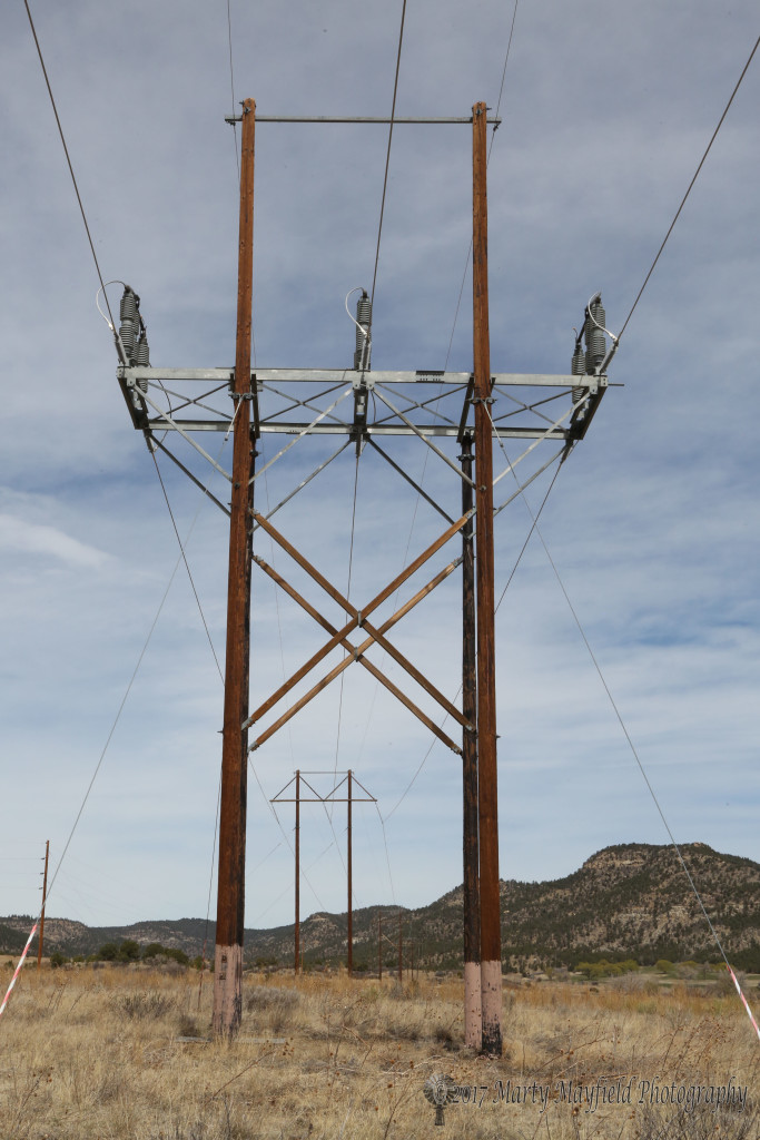 looking north along the Burro Canyon Line. This is the main power line that brings electricity into Raton and several years ago was estimated to cost about $1million a mile.