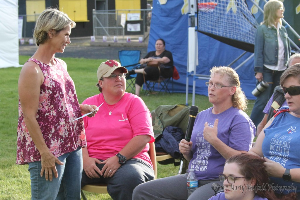 Debbie Armstrong on the left interviews a survivor during the the Survivor Caregivers presentation at the 2017 Relay for Life.