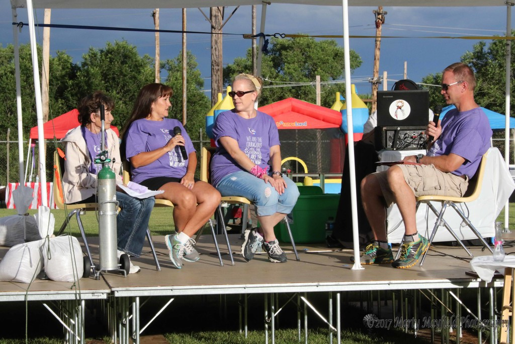 Eric Armstrong interviews Judy Campbell, Angela Guara and Alison Gagnon during the second Survivor Caregiver presentation at the 2017 Relay for Life at Tiger Stadium Saturday afternoon.