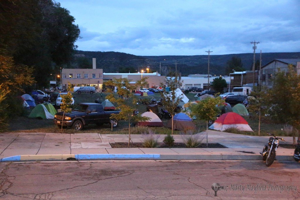Saturday evening found tents and bikes in downtown Raton. Bikers used the empty lot across from JP Rodman's shop for camping while their bikes were parked by the shop.