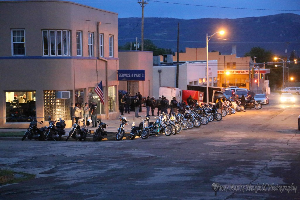 Bikes lined the street in front of JP Rodman's shop Saturday evening while riders congregated inside for the Run to Raton car show and see some of Rodman's creations including the trike that was to be raffled off.