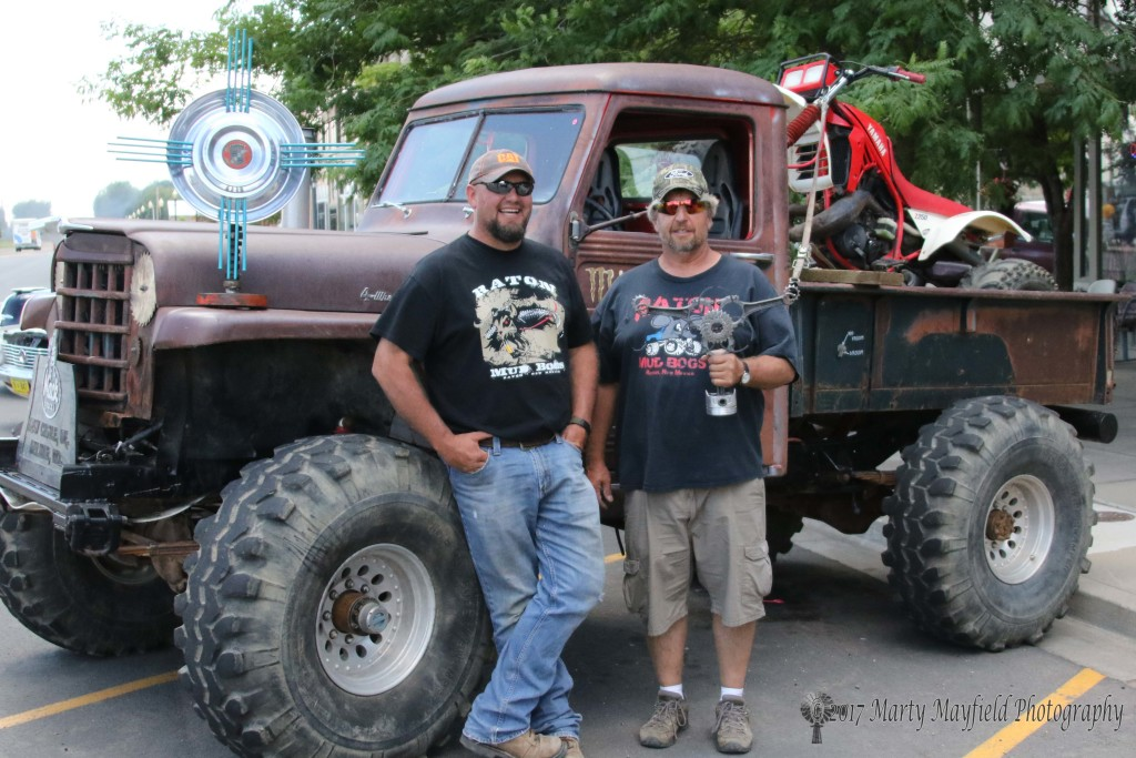 Denver Feldman (left) took the People's Choice award for his big 4-wheel drive pickup while Danny Vukonich to the People's Choice Award for Motorcycle which just happens to be sitting in the back of Feldman's pickup.