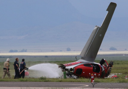 Raton Fire Fighters doused fuel that leaked from this airplane after it crashed on landing at Raton Crews Field Airport shortly after 4:00 p.m Thursday.