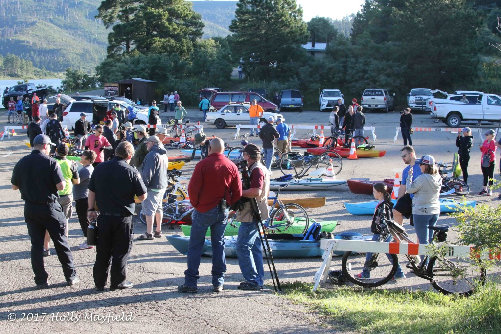 Participants and spectators begin to gather as the start time of the 2017 Master of the Mountain Adventure Race