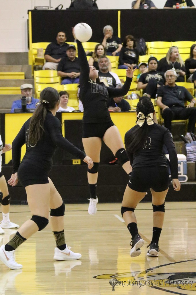 Crystal Ortiz goes up for the Spike during the Homecoming JV game with Clayton Thursday afternoon in Tiger Gym.