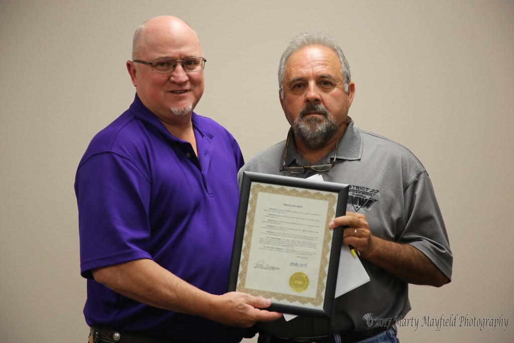 Roy Fernandez accepted the proclamation in support of UMWA Health and Pension support.