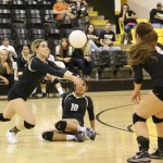 Camryn Mileta goes for the pass as Autumn Archuleta and Camryn Stoecker watch.