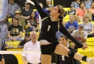 Camryn Mileta goes up and tips the ball over the net against Trinidad Saturday afternoon in Tiger Gym.