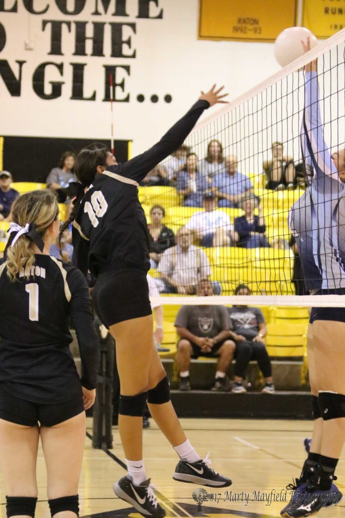 Autumn Archuleta slams the ball as Jessielyn Vallejos goes for the block at the net Saturday afternoon in Tiger Gym.