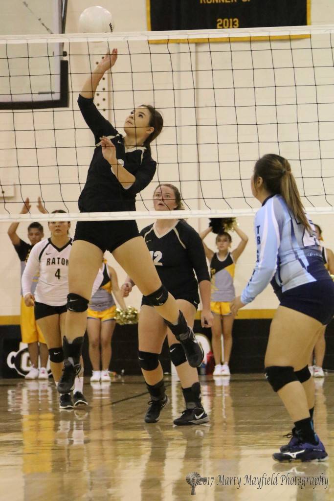 Camryn Stoecker sends the ball over the net during the Saturday afternoon match with Trinidad in Tiger Gym.