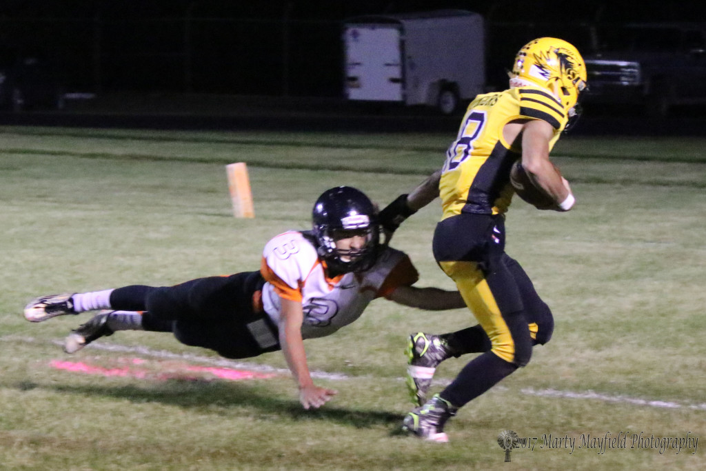 Caleb Gonzales is the last chance for Clayton to stop a Raton TD as Dustin Segura breaks away and crosse the goal line for another Tiger Touchdown Friday night in the Jungle.