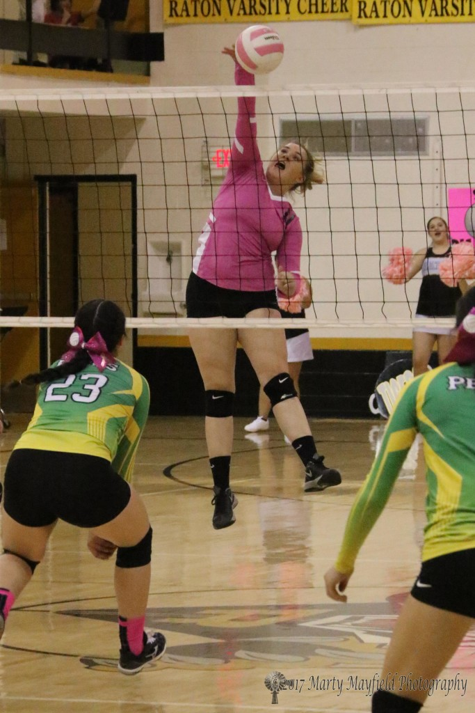 Kerrigan Weese makes the spike over the net as the Lady Tigers work closer to the win over Pecos ion the game one of the district match Saturday afternoon.