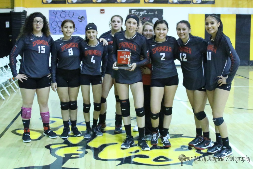 The District 1A Runner Up Springer Lady Red Devils 2 Elena Maestas;4 Kirsten Gurule; 5 Ashley Saenz; 6 Katie Shubert; 8 Hannah Burton; 9 Audrie Ritchie; 10 Shylow Saenz; 11Katy Scott; 12 Shania De Herrera; 15 Alicia Arias; Emma Sandlin