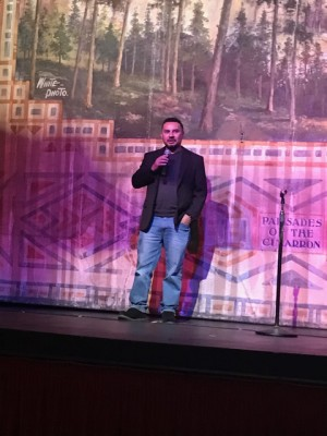 Daniel Gutierrez, Assistant Director of NM MainStreet, spoke to the crowd before the World Premiere of Thor for the Shuler Theater Digital Cinema.