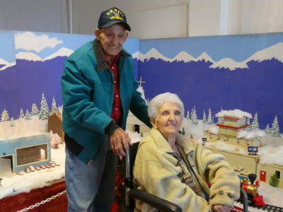 Virgil and Virginia Buscarini, with the Winter Wonderland display