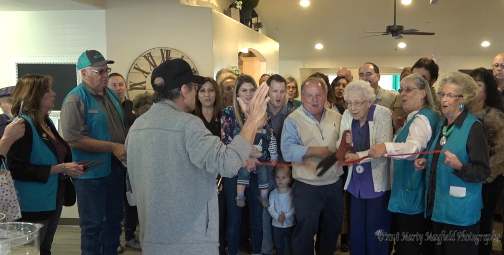 Margaret Store (Billy D's Second Grade Teacher) cut the grand opening ribbon on the new Bee Hive Homes in Raton Tuesday afternoon along with Jay Manning, Owner of the Raton Bee Hive Home, and Laura Brewer of the Raton Ambassadors and many more were on hand.