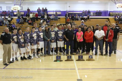 Past and present players gather to honor Coach Brazil Saturday, February 17,20018 in the Maxwell Gym.