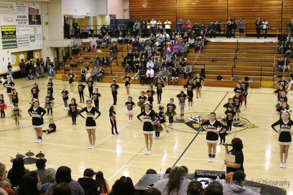 65 little girls joined the RHS Cheer squad to perform during the TigerFest halftime.