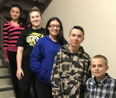 (L to R) Academic--Estefani Martinez-Colin, Service--Kerrigan Weese, Most Improved--Sofia Sanchez, 8th grade--William Berry, and 7th grade--Evin Hale.