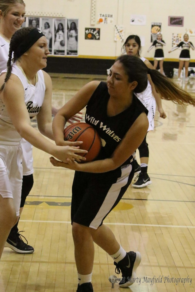 Nevaeh Ortiz and Liese Rios tangle for the ball during the TigerFest game Saturday afternoon.