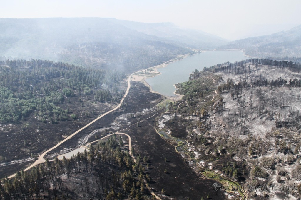 Fire came close to very Lake Maloya, Raton's main water supply, because of the foresight of city fathers Raton built a water pipeline from Cimarron to Raton which made it possible for Raton to have drinking water during the Track Fire.